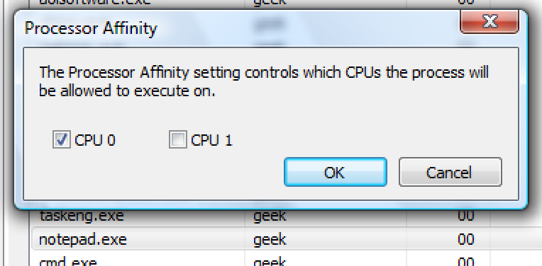 Start an Application Assigned to a Specific CPU in Windows 7