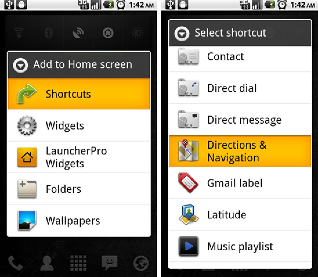 how to create url shortcut in android