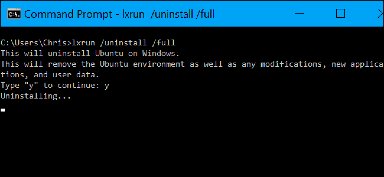 How to Uninstall (or Reinstall) Windows 10's Ubuntu Bash Shell
