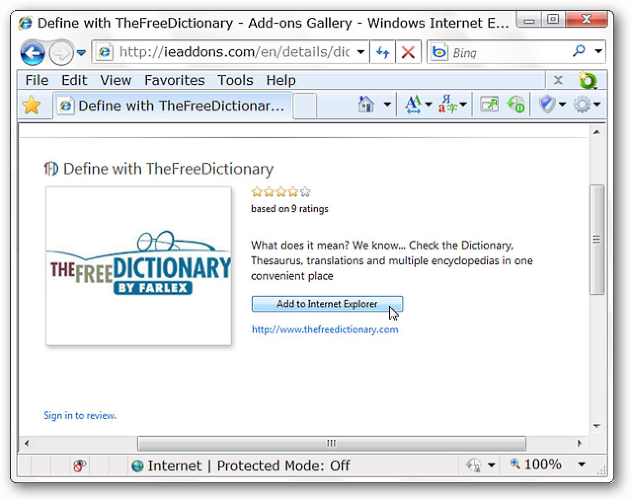 Quickly Lookup Word Definitions with TheFreeDictionary for IE 8