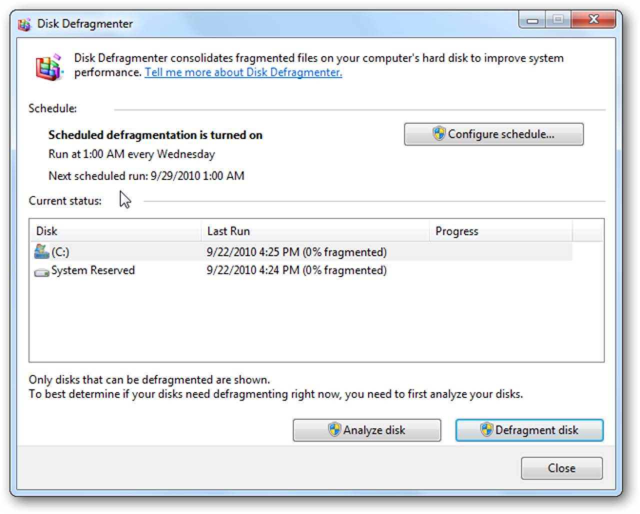 defragment program windows 7