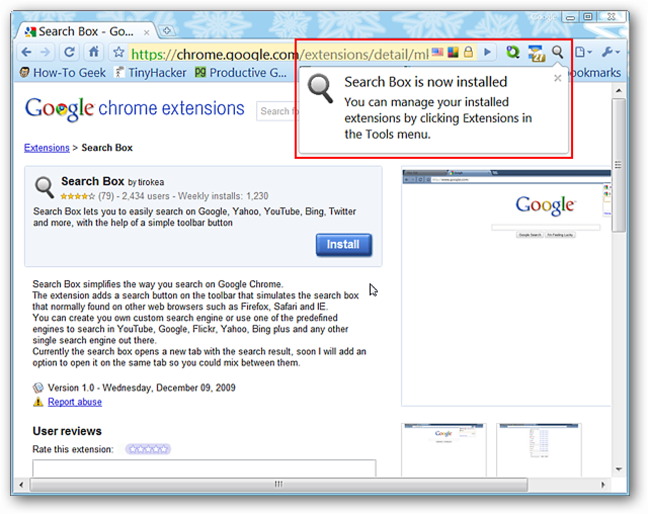 Gain Access to a Search Box in Google Chrome