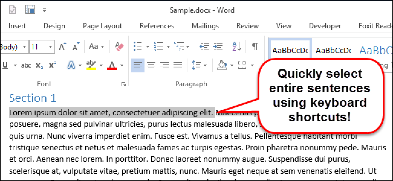 How to Quickly Select an Entire Sentence at a Time in Word ...