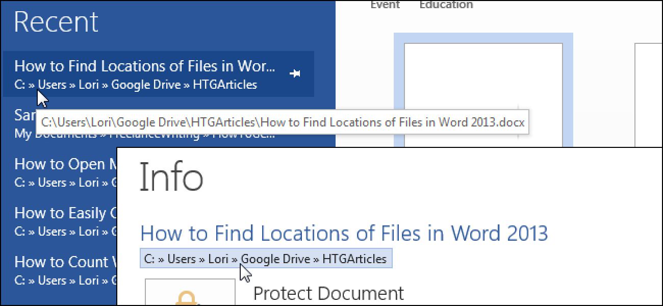 How to Find Locations of Files in Word