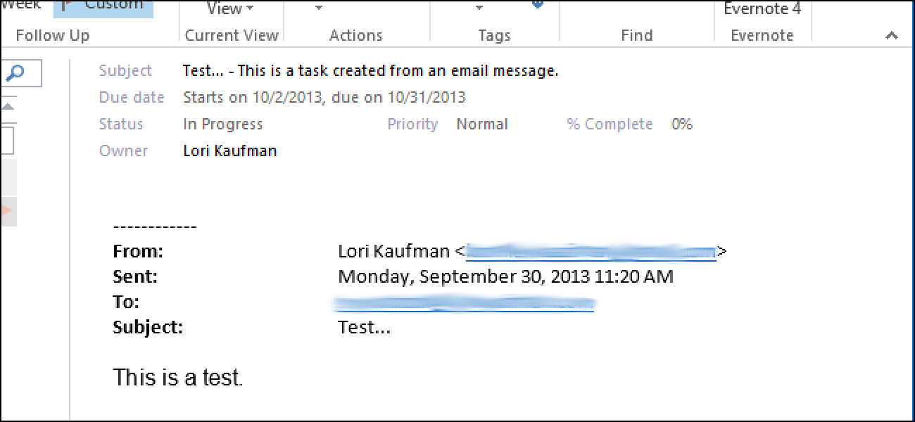 how to create a task from an email message in outlook 2013