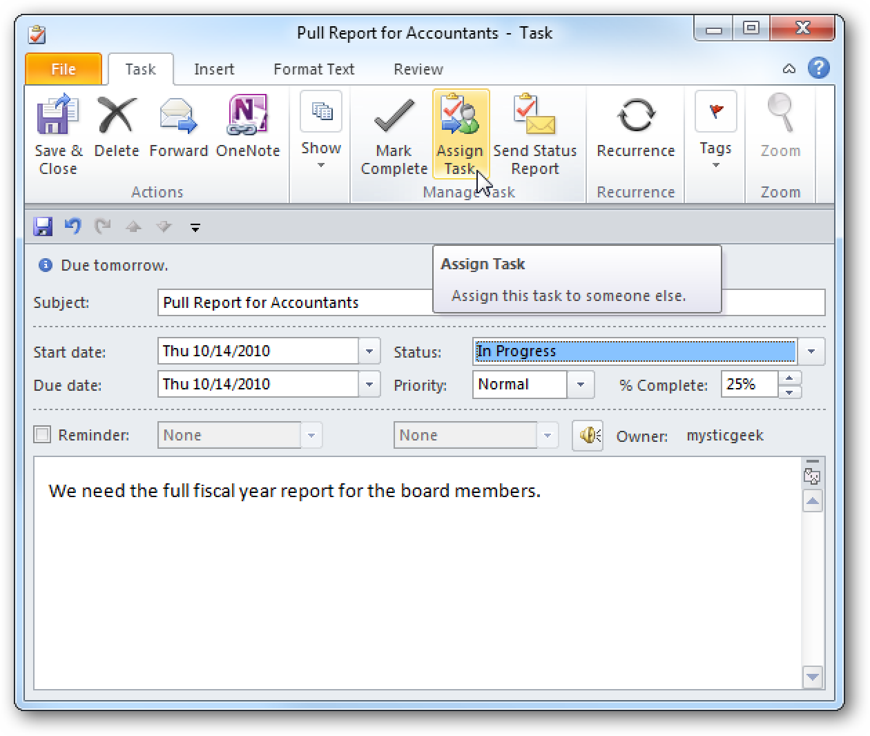 how to set up tasks in outlook 2013
