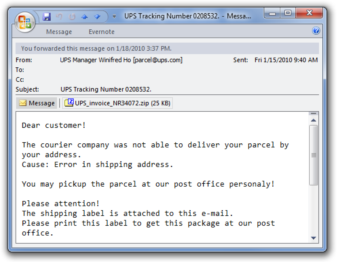 Fix the Fake UPS Tracking Number Virus Rebooting Your Machine