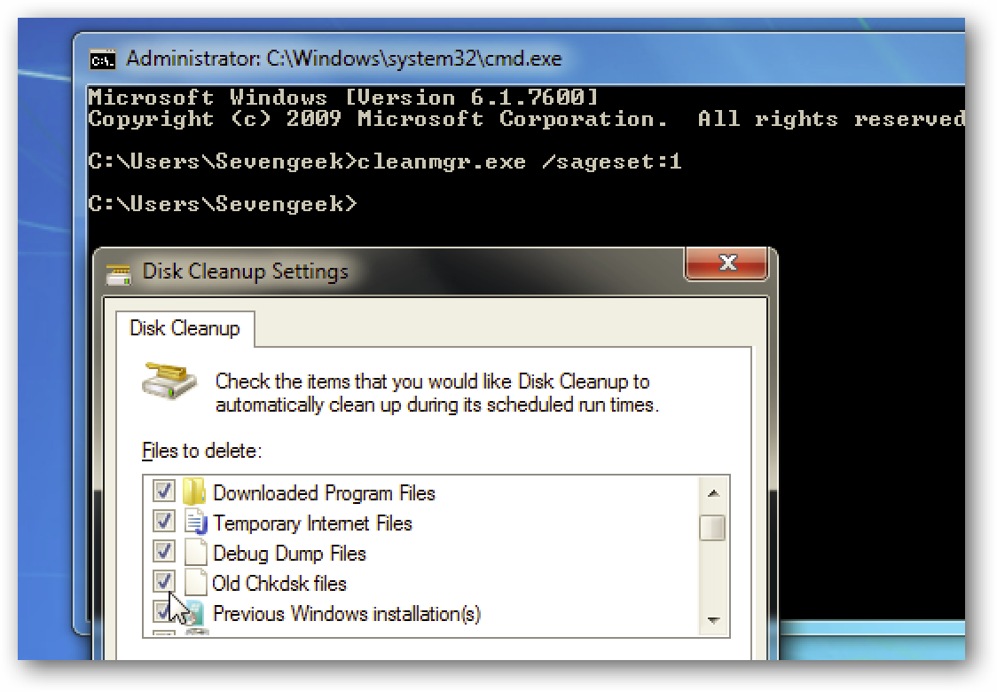 disk cleanup windows 7 missing manual