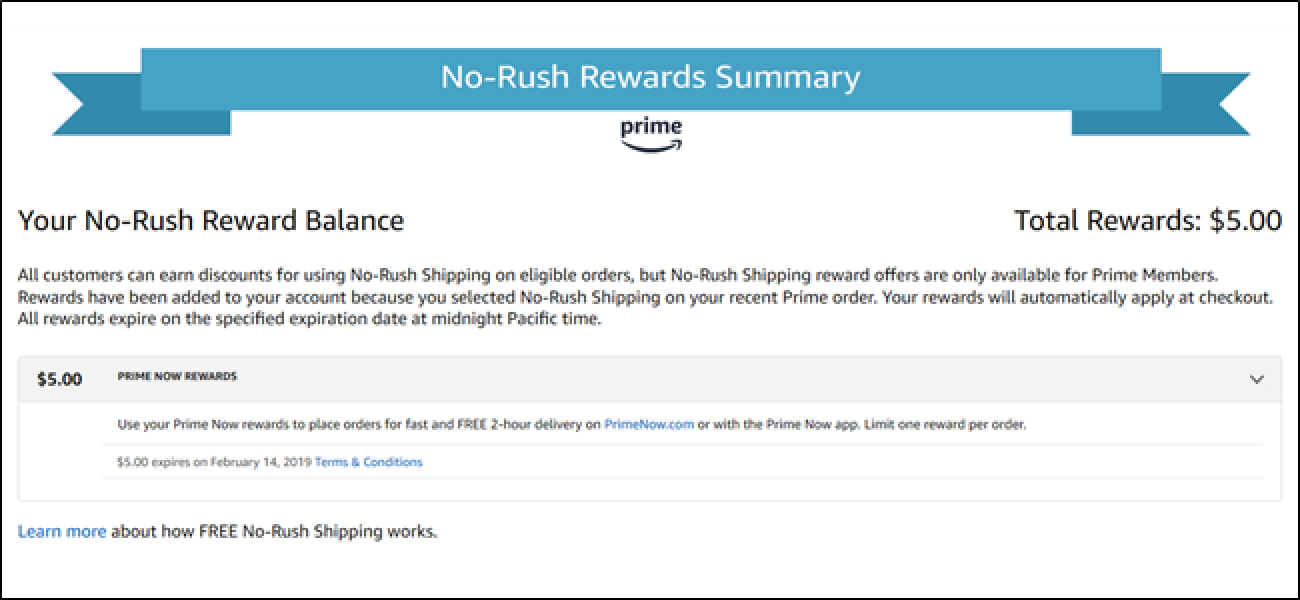 psa some amazon no rush credits are expiring tomorrow rush to check yours today. Black Bedroom Furniture Sets. Home Design Ideas