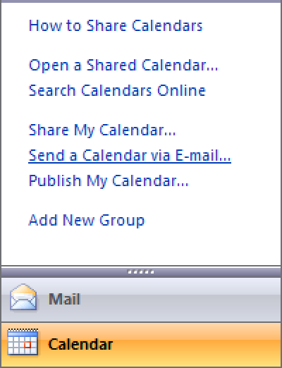 Quick Tip: Email Your Calendar in Outlook 2007