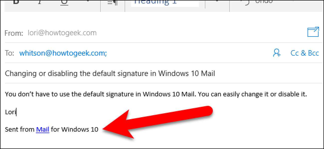 how to change the sent from mail for windows 10 signature