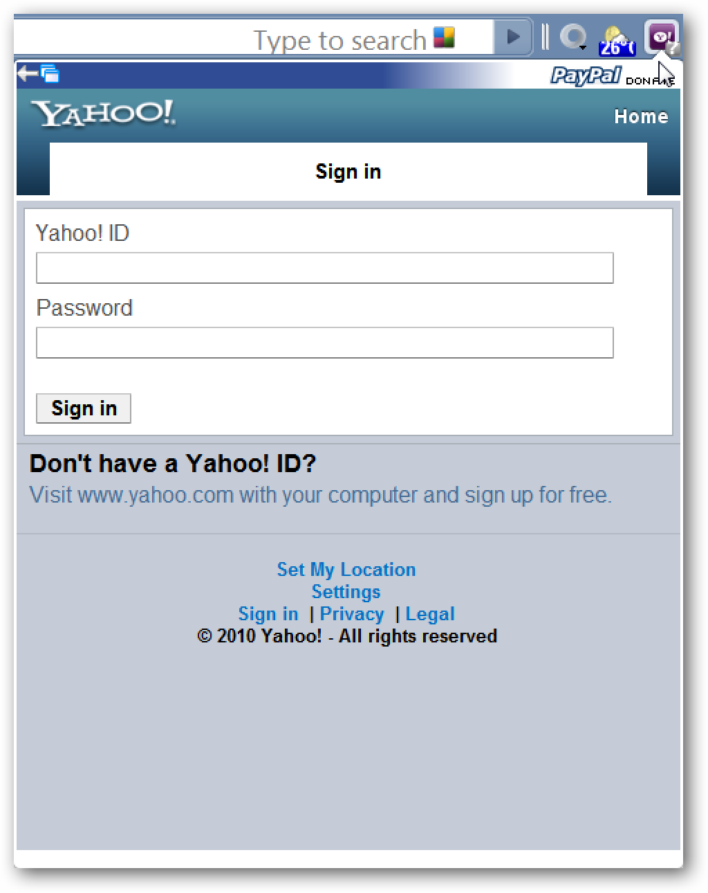 Access Yahoo! E-mail & Services in Chrome