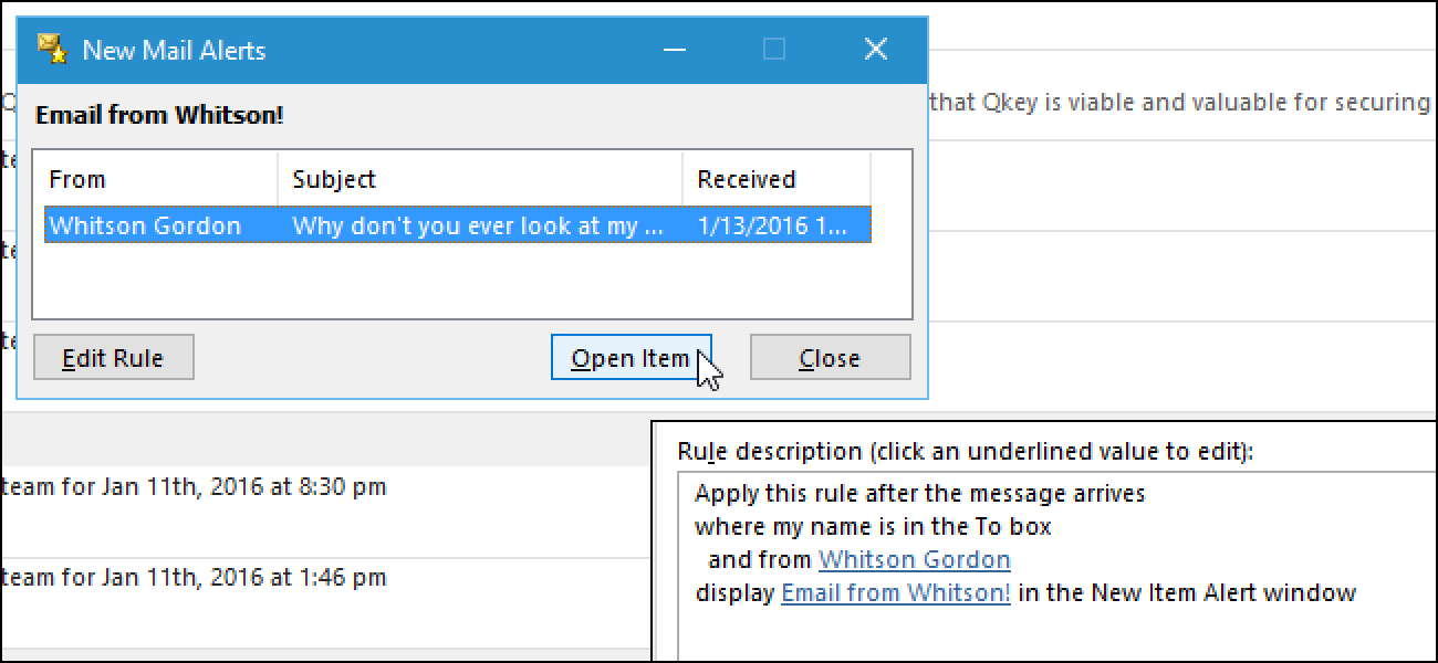 Email notifications on outlook