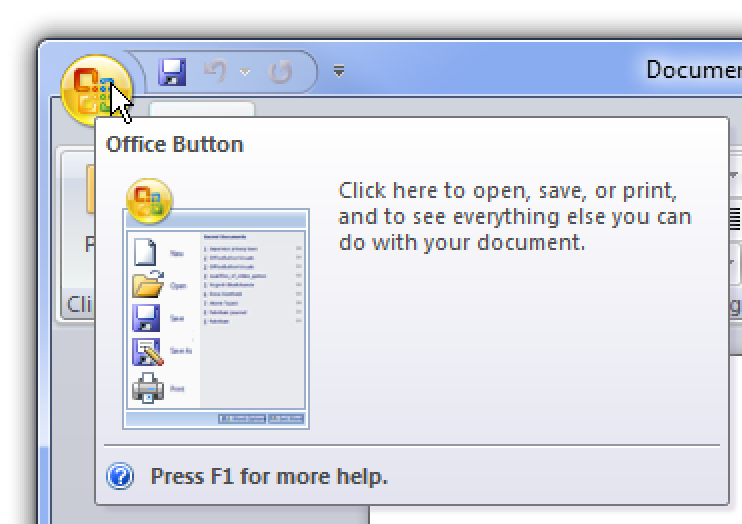 what is office button in ms word 2007