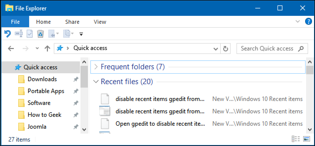 How to Turn Off Recent Items and Frequent Places in Windows 10