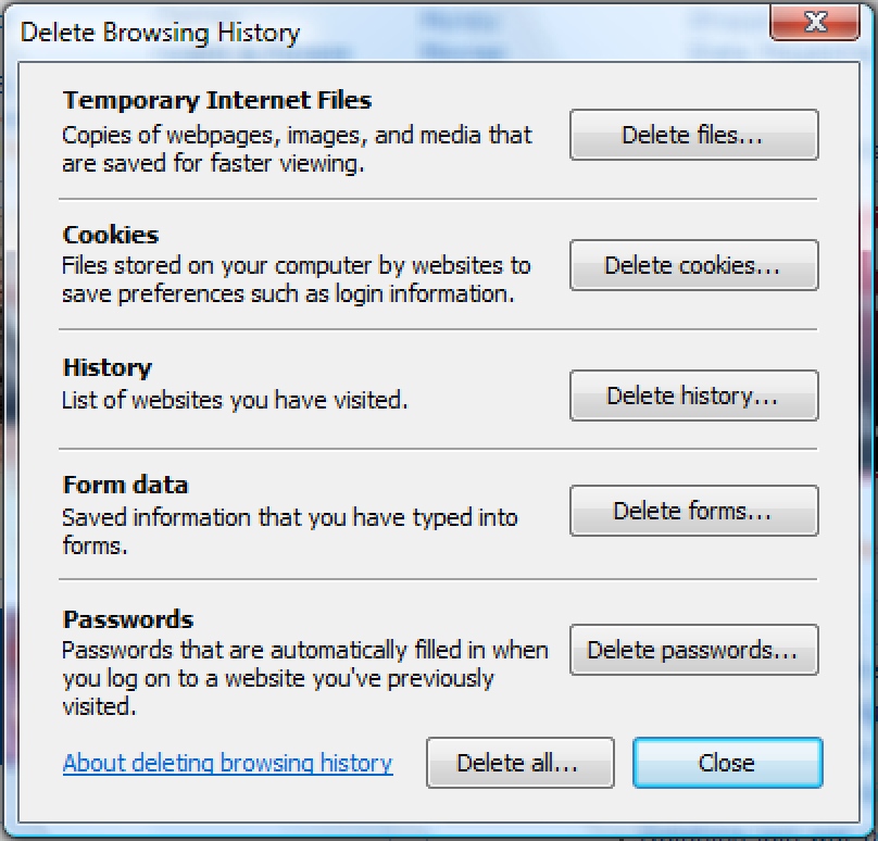 Clear IE7 Browsing History From the Command Line
