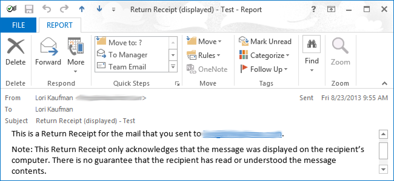 How to Request a Delivery/Read Receipt in Outlook 2013