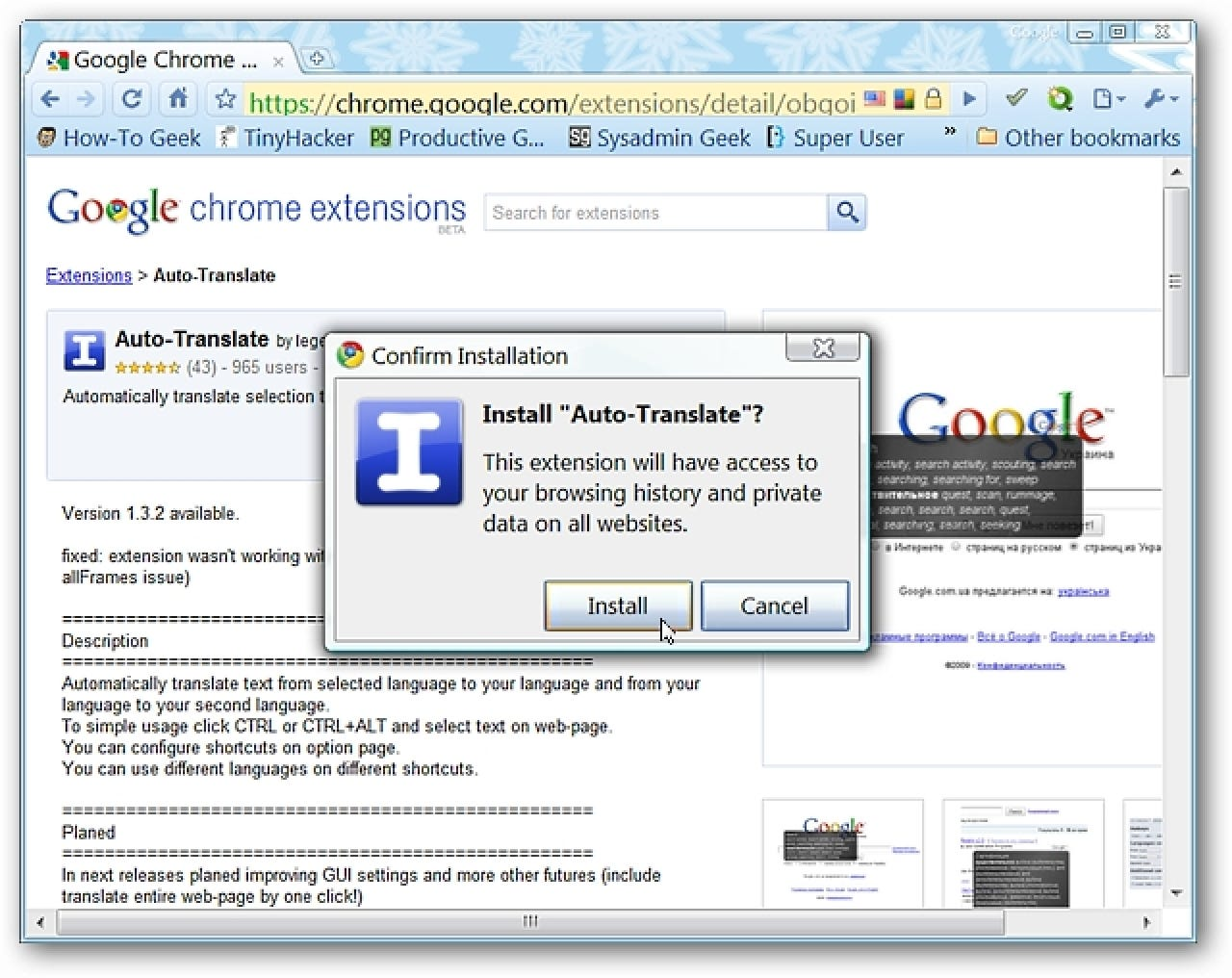 how to get google chrome to translate page