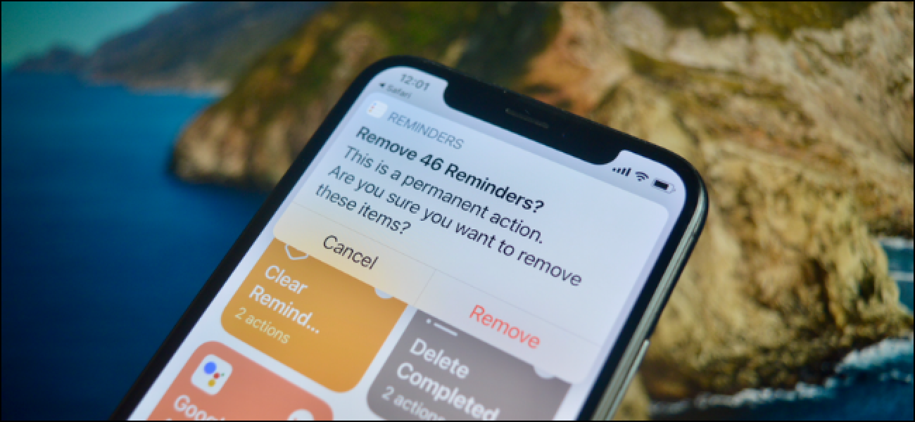 iPhone User Deleting Old Completed Reminders Using Shortcuts.'
