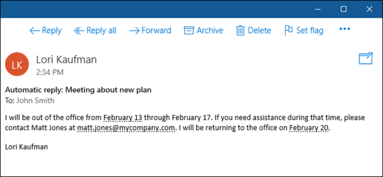 How to set up an out of office reply in windows 10 mail - Set up out of office in outlook ...