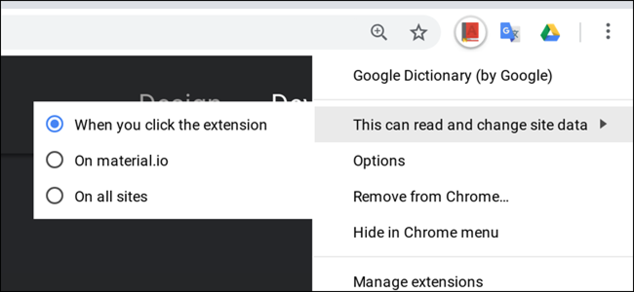 how to control which extensions show in chrome