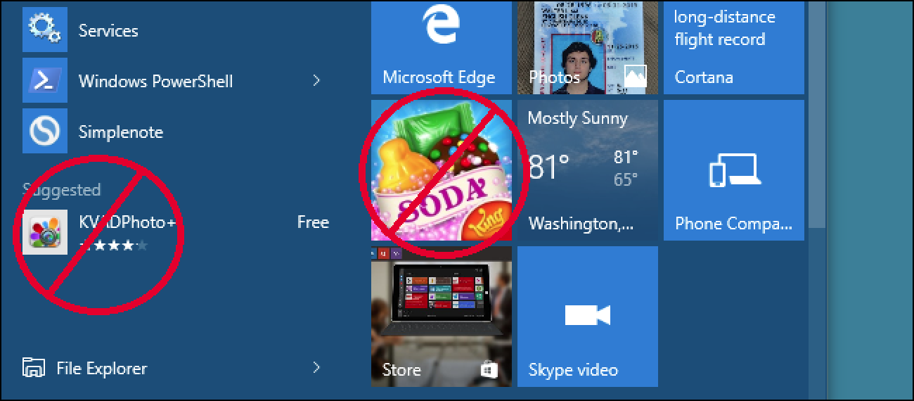 "How to Get Rid of ""Suggested Apps"" (like Candy Crush) in Windows 10"