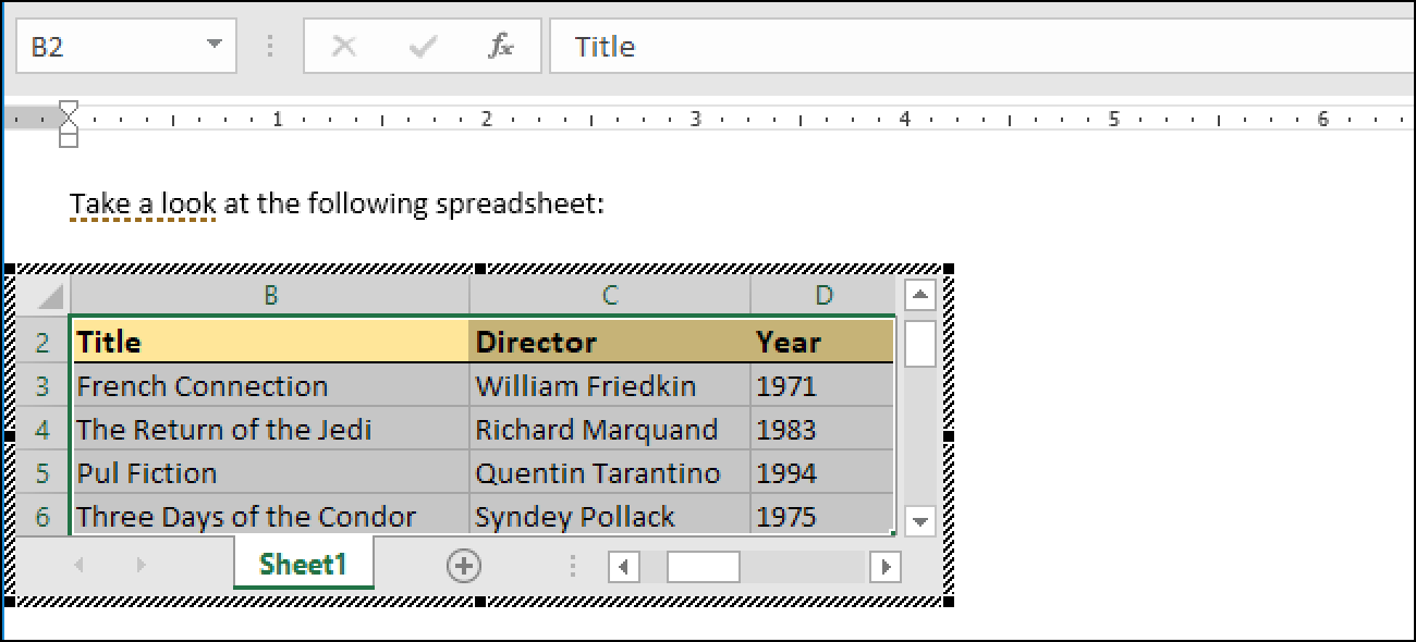 How to Link or Embed an Excel Worksheet in a Word Document