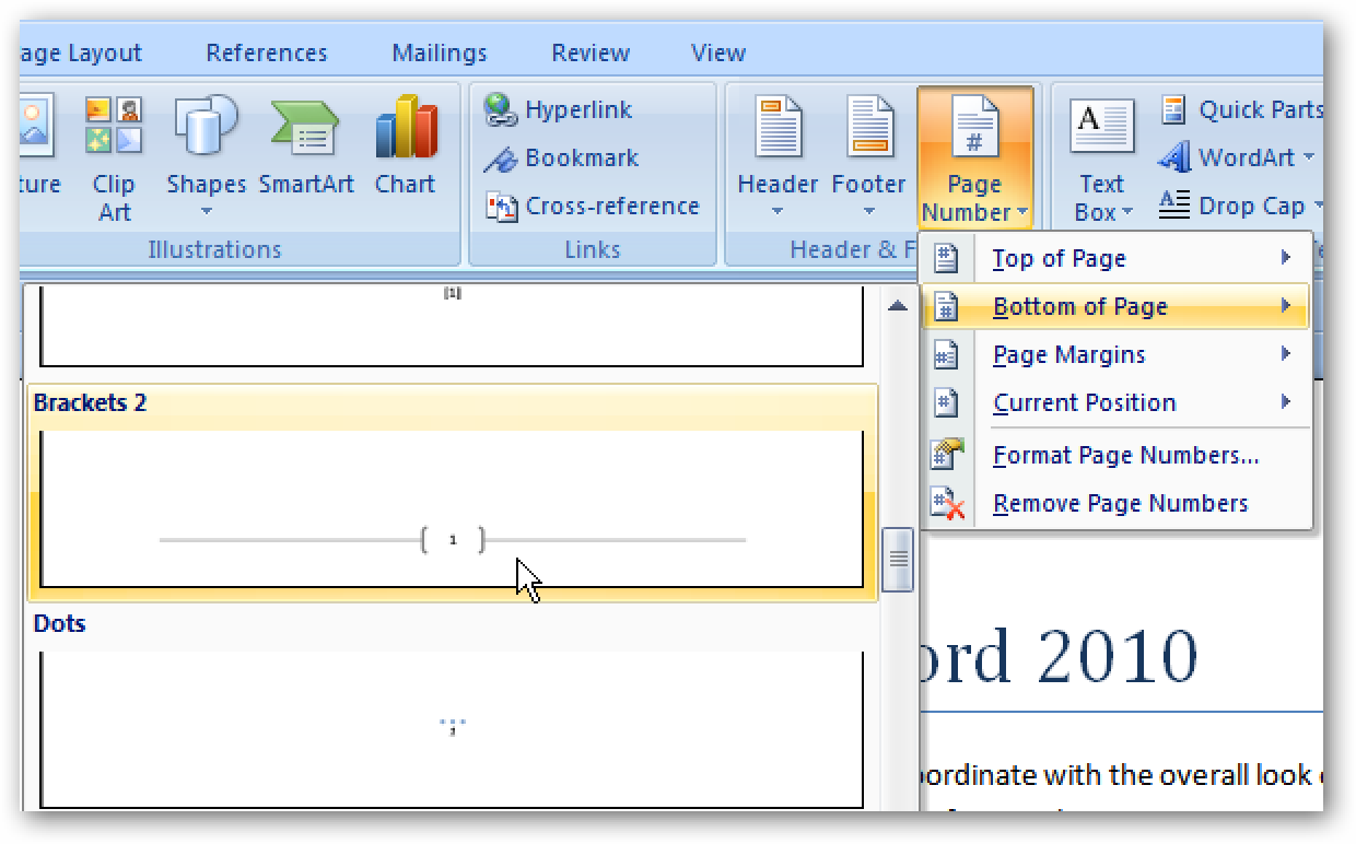 Add Page Numbers To Documents In Word 2007 & 2010