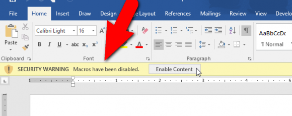 How to Disable the Security Warning Message Bar in Microsoft Office Programs