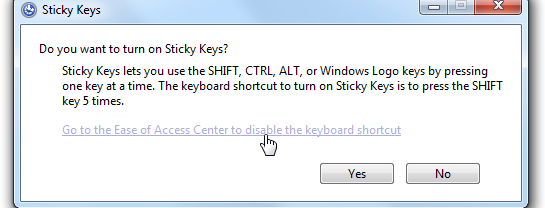 How do you deactivate StickyKeys?