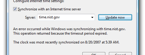 Best windows 7 time sync internet time options time-a.nist.gov
