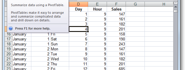 how to create pivot table in excel 2007