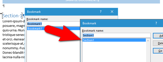 how to rename a bookmark in microsoft word using a free add