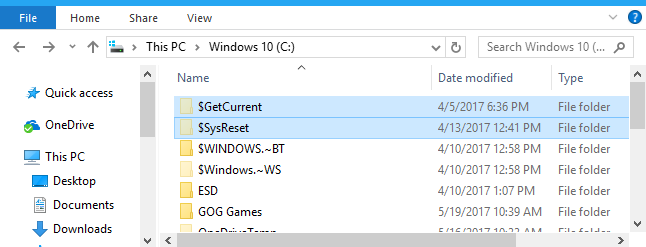 What Are the $GetCurrent and $SysReset Folders, and Can You Delete