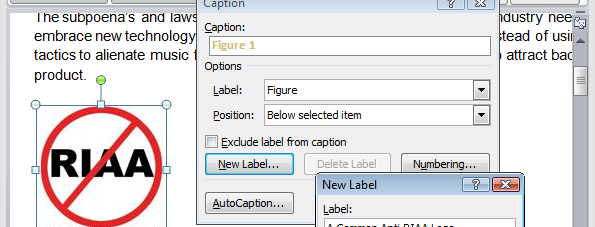 how to add figure caption in word