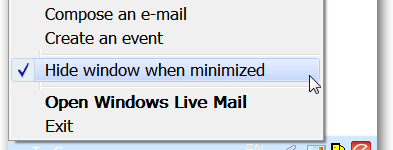 Minimize Windows Live Mail to the System Tray in Windows 7