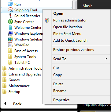 unable to open snipping tool in windows 7