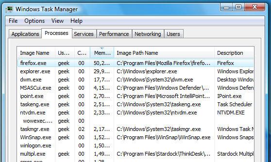 Use Windows Vista Task Manager to See File Name of Running Process