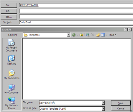 Create an email template in outlook 2003 for Making an email template
