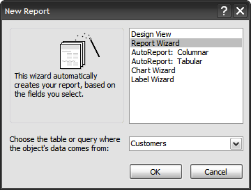 in this instance i want to create a report about tech_companys customers after you have the correct data selected click ok