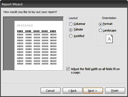 Image result for layout of report wizard in ms access 2003