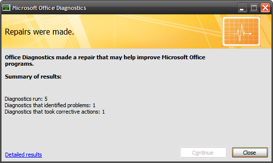 Detect and Repair Applications In Microsoft Office 2007