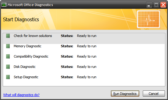 next you are presented with the start diagnostics screen showing you what is going to be checked and the status of each diagnostic