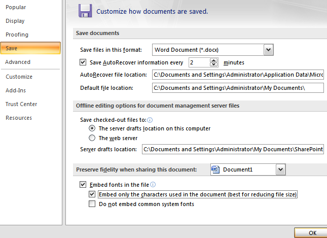 Embed True Type Fonts In Word And Powerpoint 2007 Documents