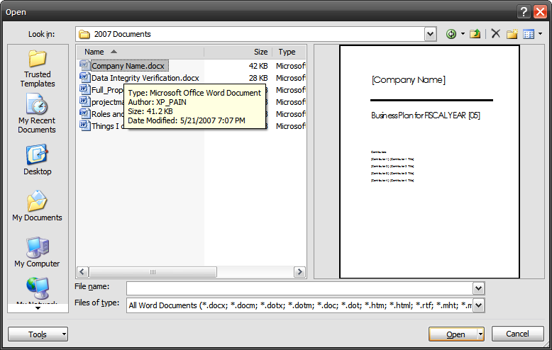 Preview Documents Without Opening Them In Word 2007