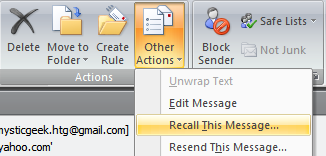 Recalling Email Messages in Outlook 2007