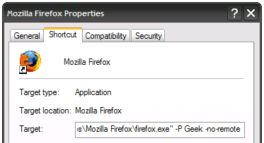 firefox profile shortcut