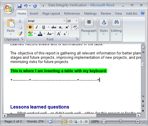 ms word 2007 keys