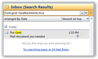 how to find unread emails in outlook 2007