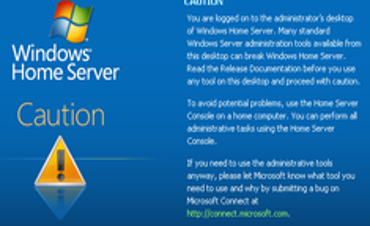 Disable Administrator Logon Warning in Windows Home Server